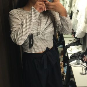 Zara Striped Wrap Crop Top